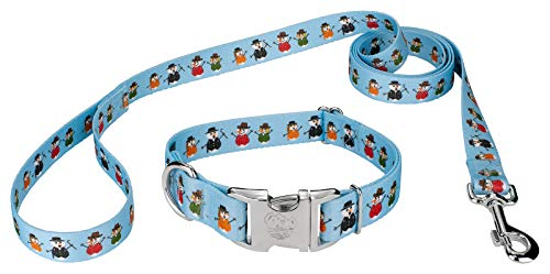 (Country Brook Petz | Premium Caroling Snowmen Dog Collar and Leash Set - Christmas Collection with 11 Designs (Extra Large))