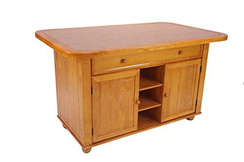 Finish Tile Oak Top (Sunset Trading CY-KI-TT-02-LO-TB Sunset Selections Tile Top Kitchen Island, Light Oak Finish)