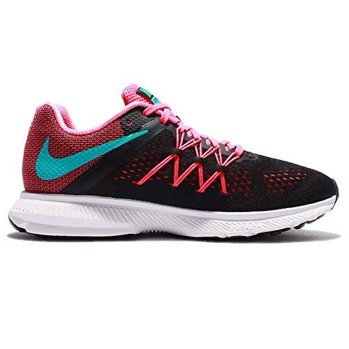Nike Womens Zoom Winflo 3, Zwart / Helder Jade-roze Blast-wit, 7 Per