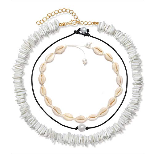 VOGUEKNOCK Shell Choker Necklace Mixed 3 Strands Puka Chip Shell Necklace Hawaii Beach Cowrie Seashell Necklace Pearl Choker Necklace Jewelry for Women Men (3 Strands Choker Set)