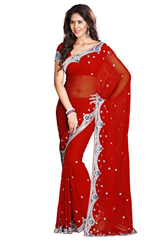 Mirchi Fashion Women's Designer Sequins Wedding Traditional Indian Saree Red by Sourbh