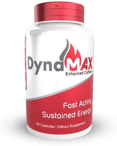 DynaMAX Enhanced Caffeine Capsules 60 Count Natural Energy Boost Supplement Fast Acting, Sustained Energy and Focus for Up to 8 Hours