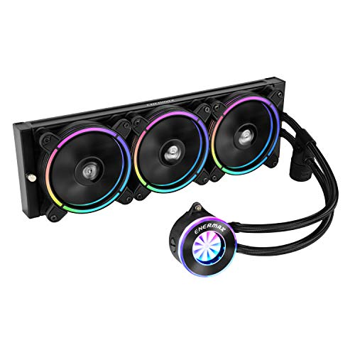 Enermax Liqfusion aRGB 360mm Lighting Liquid CPU Cooler T.B. RGB Addressable M/B Sync RGB Fan, Exclusive RGB-Sync Waterblock with Patented Flow Indicator Design, ELC-LF360-RGB
