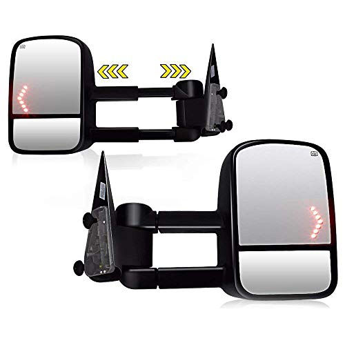 Spead-Vmall DOT Approved Towing Mirrors Compatible for 2003 2004 2005 2006 Chevy Towing Mirrors, Chevrolet Silverado Side Mirror, GMC Sierra Tow Mirrors, Pair Power Heated with Arrow Signal Light