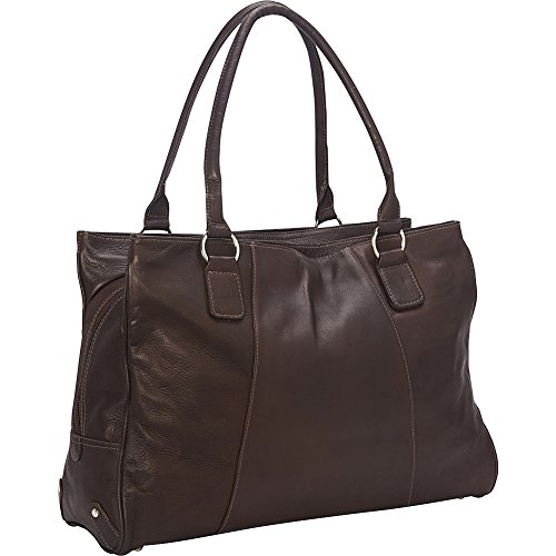 Piel Leather Laptop Travel Tote, Chocolate, One (Laptop Tote Chocolate)