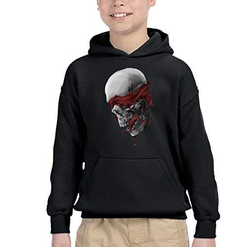 WER7 Baby Boys Girls Blindfolded Skull Pullover Hooded Sweatshirt, Black