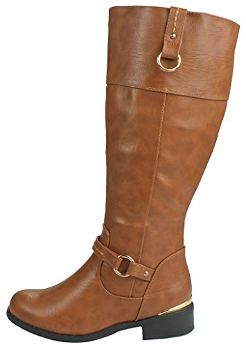 Women FK Two Tone Gold Decorative Winkle Back Shaft Side Zip Knee High Flat Riding Frye Boots Camel tsQHPi7ic