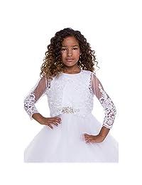 Petite Adele Girls White Beaded Floral Embroidered Long Sleeve Bolero 6-16