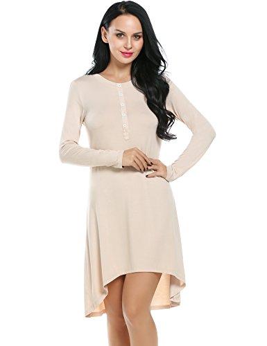 Ekouaer-Nightgowns-Womens-Sleepwear-Cotton-Long-Sleeve-Nightshirt-Sexy-Sleep-Night-Lounge-Dress