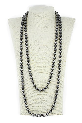 Lovely Bead Handmade Smooth Double Knotted Silver Navajo Pearl Necklace (60 Inches, 10mm)