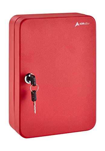 (AdirOffice Key Steel Security Storage Holder Cabinet Valet Lock Box (48 Key, Red))