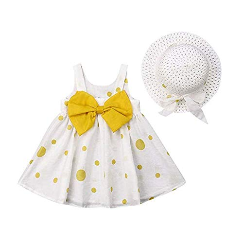Baby Girls Floral Big Bowknot Sundress Dots Print Sleeveless Dress + Sun Hat Set (1T-2T, Bowknot-Yellow)