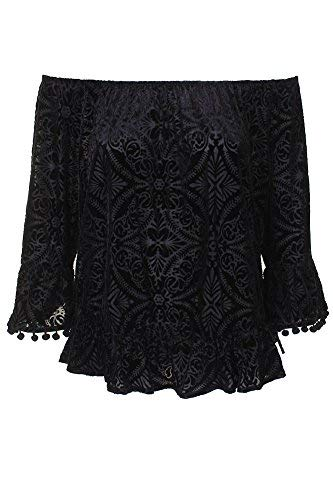 Style & Co. Burnout Velvet Top (Deep Black, L) ()