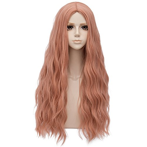 Dark Milkshake Pink Long 32 Inches Curly Heat Resistant Cosplay Wig Fashion Lolita Women's Party -