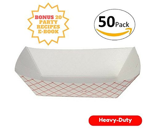 Prime Food trays Disposable for Fairs, Carnivals, Events, Festivals, and Picnics. Holds Nachos, Fries, Hot dogs, Hot Corn Dogs, and more - Bonus e-book included - 2lb, - Fair Tray