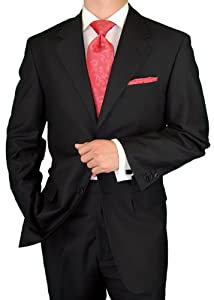B002MY2PH8 Gino Valentino Men's 2 Button Jacket Flat Front Pants Jet Black Suit (42 Regular)