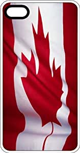 Canadian Maple Leaf Flag White Rubber Case for Apple iPhone 4 or iPhone 4s