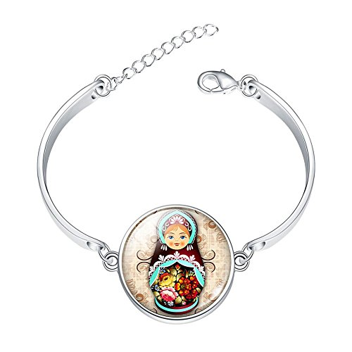 DOME-SPACE Adjustable Silver Bracelets Tradition Russian Doll Picture Jewelry Glass Cabochon Hand Chain Link Bracelet Clear Bangle Custom Glass Cabochon Charm ()