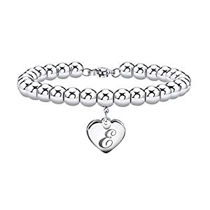 Best Epic Trends 41tCy8HHSPL._SS300_ Initial Bracelet for Girl Stainless Steel 26 Letters A to Z Heart Tag Bead Bracelet Alphabet Bracelet Mother's Day Gifts…