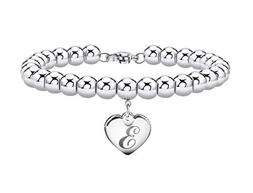 Initial Bracelet for Girl Stainless Steel 26 Letters A to Z Heart Tag Bead Bracelet Alphabet Bracelet for Women