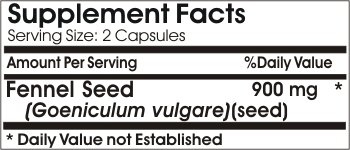 Fennel Seed 900mg // 100 Capsules // Pure // by PureControl Supplements