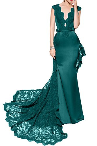 DressyMe Women's Charming Evening Dresses V-Neck Sheath Lace Watteau Backless-6-Teal