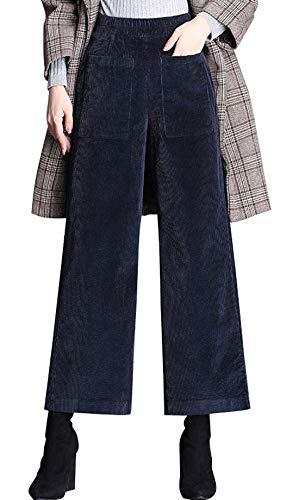 Blues Leg Corduroy Straight (chouyatou Women's Vintage High Waisted Flat Front Corduroy Wide Leg Pants (Medium, Dark Blue))