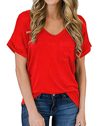 TWKIOUE Women's Summer Casual Sexy Short Sleeve V Neck Patch Pocket Slub Texture Tee Loose Top Tshirt Red M
