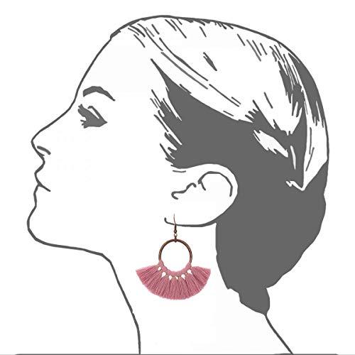 Jiami Fan Tassel Fringe Drop Earrings Dangle Chandelier for Women, Girls Pink