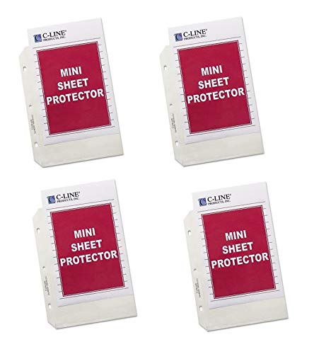 (C-Line Top Loading Heavyweight Poly Sheet Protectors, Clear, Mini Size, 8.5 x 5.5 Inches, Box of 200 (62058) - Bundle Includes Plexon Ballpoint Pen)