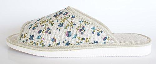 en de Bleues Maison avec Femme Pantoufles Bleues pour Lin Fleurs des Chaussures Gris Fleurs Dames qfnwwgEPR