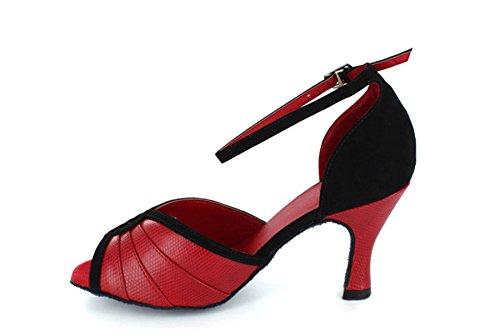 Tda Dames Uitlopende Hak Enkelband Geplooide Mode Klassieke Moderne Dansschoenen Rood