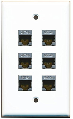 RiteAV - (1 Gang Flat) 6 Port Cat6a Ethernet Shielded Wall Plate White