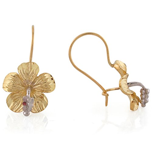 14k Two-Tone Gold Gorgeous Diamond Cut Habiscus Flower Kidney Ear Wire (Habiscus Flower)