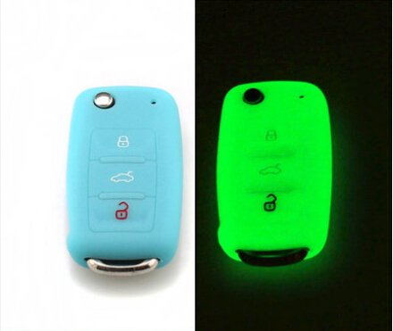 9 MOON Silicone Luminous Remote Flip Key Protecting Key Case Cover Fob Holder 3 Buttons For VW Volkswagen,Blue