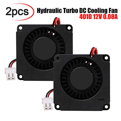 MakerHawk 2pcs Brushless DC Cooling Fan 40mm x 40mm x 10mm 4010 12V 0.08A 3D Printer Fan Hydraulic Turbo Cooling Fan with XH2.54-2P Wire for 3D ()