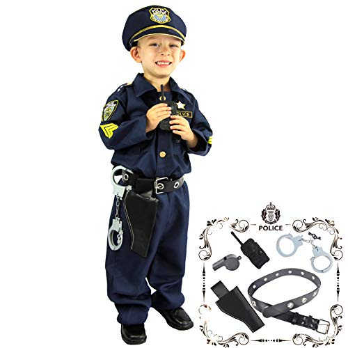 Joyin Toy Spooktacular Creations Deluxe Police Officer Costume for Kids and Role Play Kit (Small) Navy Blue