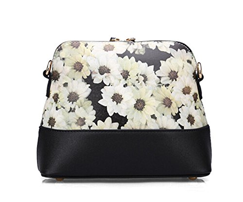 Yiji Black Bag Pu Leather Women's Crossbody Flowers Printed 60qwO6r