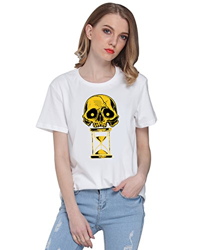 So'each Women's Skull Hourglass Graphic Printed Casual Tee T-shirt Tops