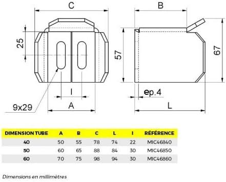 Avaloir de portail pour tube Dimension tube 60 mm