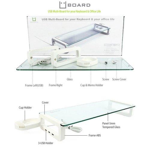 UBOARD SMART Tempered Glass Monitor Stand Shelf Multiboard 3 Port USB 2.0 Black