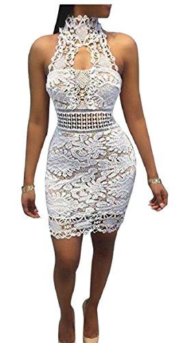 Women's Dress Sexy Sleeveless Lace V Neck Alion Bodycon Hollow White Mini gCFxqwxRdB