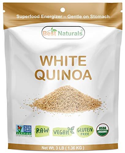Best Naturals Certified Organic White Quinoa Whole Grain 3 Pounds - Non-GMO Project Verified - RAW - Gluten Free - Vegan