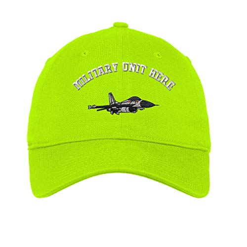(Custom LowProfileSoft Hat F-16 Fighting Falcon Embroidery Unit Cotton Dad Hat Flat Solid Buckle - Lime, Personalized Text Here )