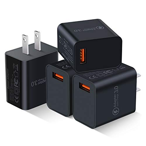 [4-Pack] Quick Charge 3.0 Wall Charger, Besgoods 18W QC 3.0 USB Charger Adapter Fast Charging Block Compatible Wireless Charger, Samsung Galaxy S9 S8/Note 8 9, iPhone, iPad, LG, HTC 10 and More