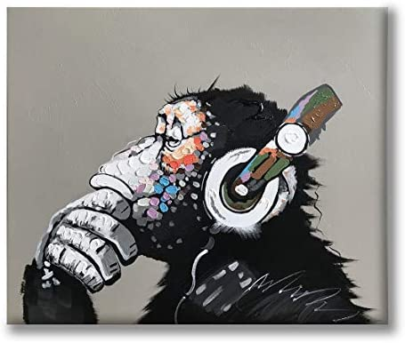 Yatehui Cool Ape Oil Painting on Canvas 100 Hand Painted Pop Art Funny Gorilla Thinking Monkey Listening to Music with Headphone Canvas Wall Art Framed Ready to Hang 24 x 20 Inches