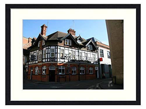 Wall Art Print Wood Framed Home Decor Picture Artwork(24x16 inch) - Oxford Pub England Urban House Britain Cambridge