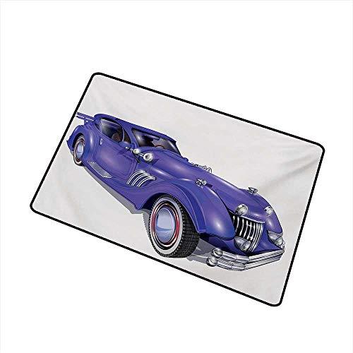 BeckyWCarr Cars Front Door mat Carpet Custom Vehicle with Aerodynamic Design for High Speeds Cool Wheels Hood Spoilers Machine Washable Door mat W19.7 x L31.5 Inch,Violet Blue (Front Half Spoiler)