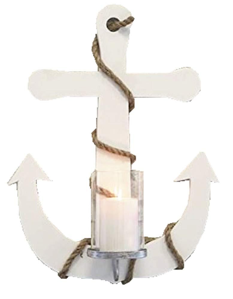 Wandleuchter Anker Holz Seildeko Breite 38cm mit Windlichtglas Wanddeko Leuchter Meer Urlaub
