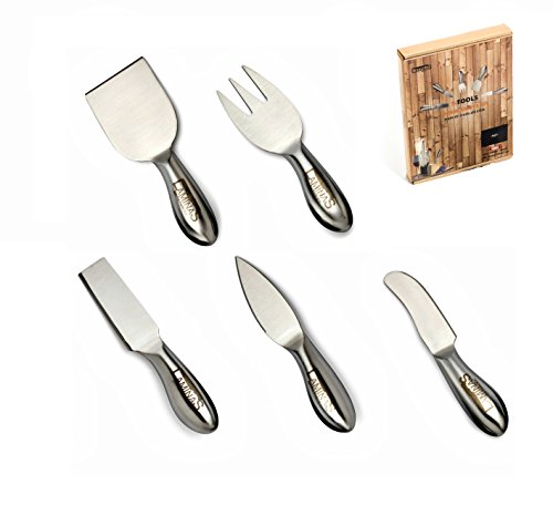 Stainless steel cheese knife set, Designed to hold, cut, shave, slice and spread hard and soft cheese. Perfect as a unique house-warming gift Bonus - Microfiber cloth for easy cleaning By Laminas